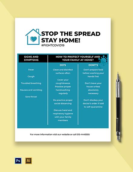 Stay Home Coronavirus COVID-19 Awareness Flyer Template