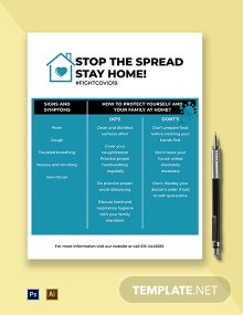 Stay Home Coronavirus COVID-19 Awareness Flyer Template
