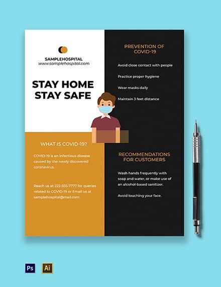 Coronavirus COVID-19 Awareness Promotional Flyer Template