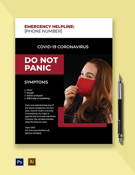 Coronavirus COVID-19 Helpline Flyer Template