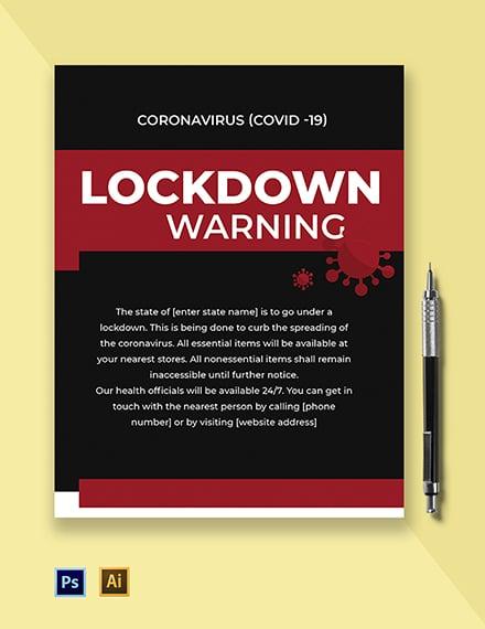 Coronavirus COVID-19 Lockdown Warning Flyer Template