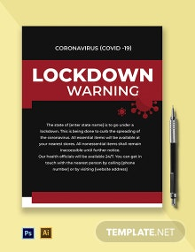 Coronavirus COVID-19 Lockdown Warning Flyer Template