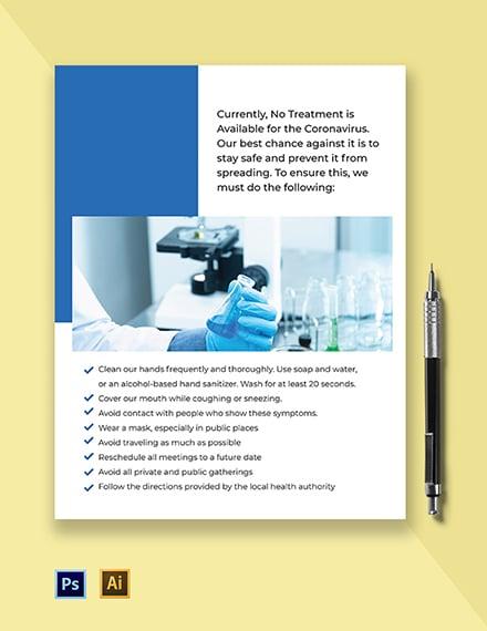 Coronavirus Precaution Flyer Template