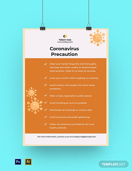 Coronavirus COVID-19 Prevention Poster Template