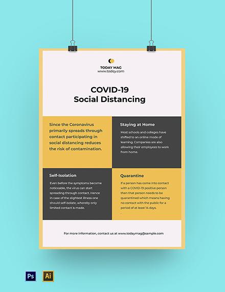 Coronavirus COVID-19 Social Distancing Poster Template
