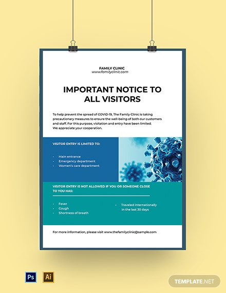 Coronavirus COVID-19 Entry Restricted Poster Template