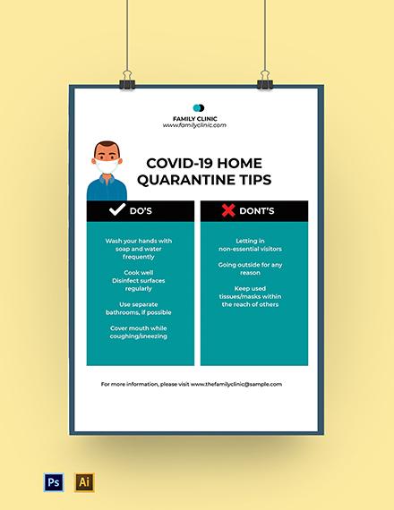 Corona COVID-19 Home Quarantine Poster Template