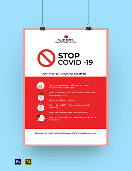 Stop Coronavirus COVID-19 Campaign Poster Template