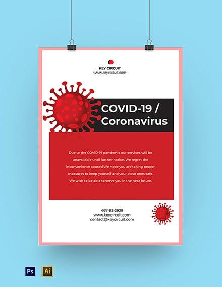 Coronavirus COVID-19 Lock Down Shop Poster Template