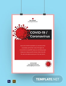 Coronavirus COVID-19 Lock Down Shop Poster Template