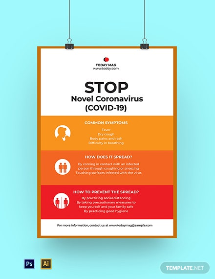Novel Coronavirus COVID-19 Awareness Poster Template