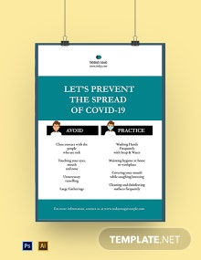 Coronavirus COVID-19 Prevention Social Media Poster Template
