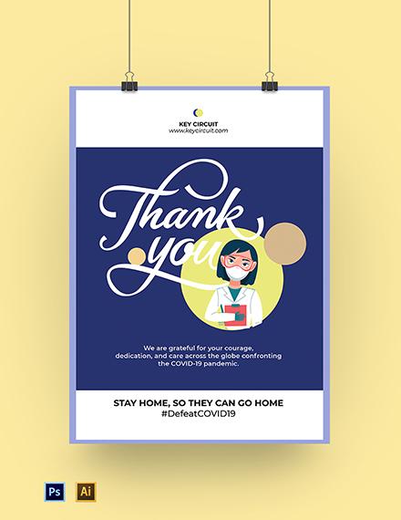 Coronavirus COVID-19 Doctor Thank You Poster Template