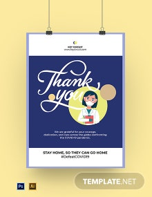 Coronavirus COVID-19 Doctor Thank You Poster Template
