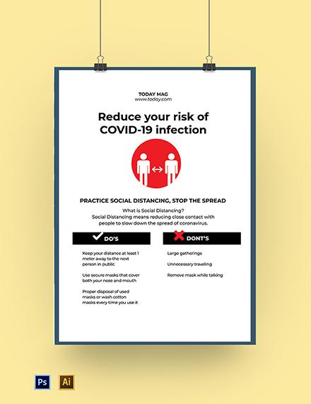 Coronavirus COVID-19 Awareness Social Distancing Poster Template