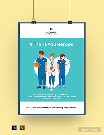 Coronavirus Thank You Medical Personnel Poster Template