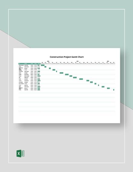 Construction Project Gantt Chart Template