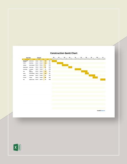 Free Sample Construction Gantt Chart Template