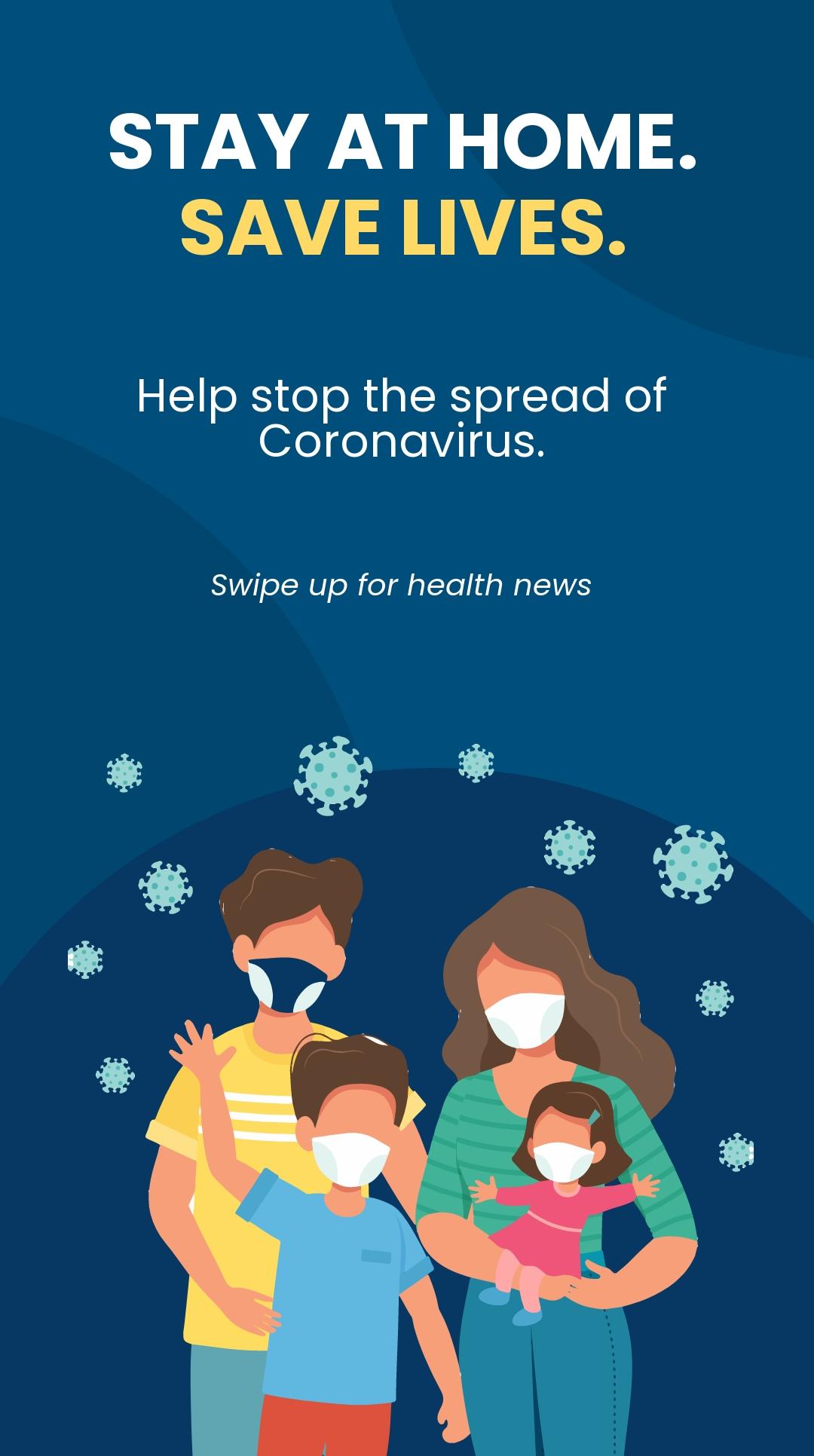 Free Coronavirus COVID-19 Stay Home Instagram Story Template