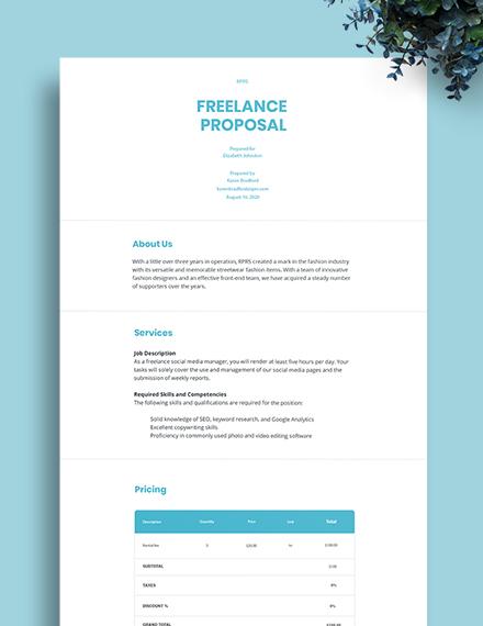 Sample Freelance Proposal Template