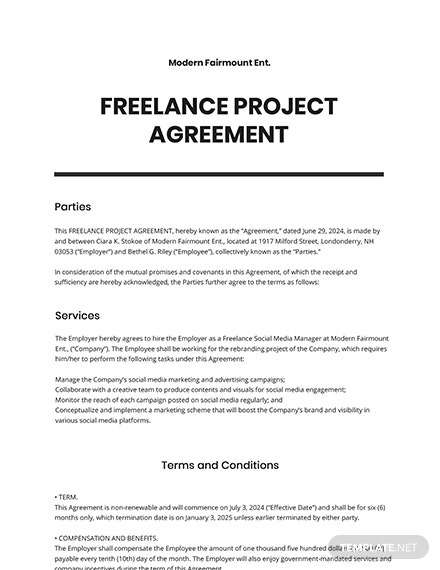 Freelance Project Agreement Template