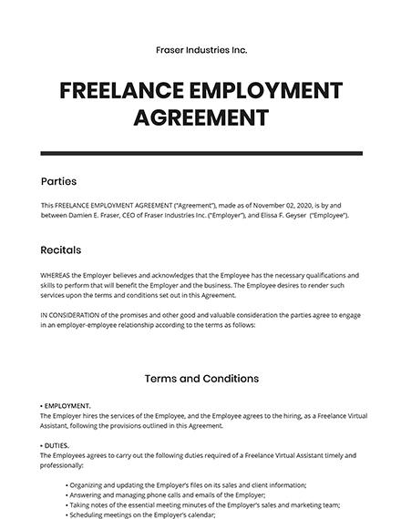 Freelance Employment Agreement Template