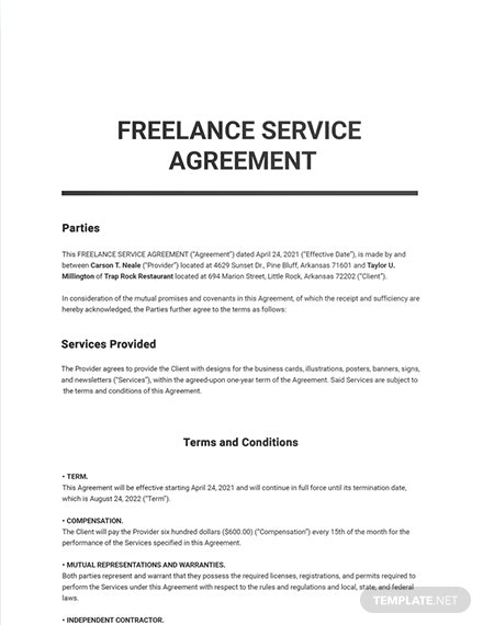 Freelance Service Agreement Template