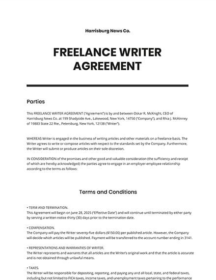 Freelance Writer Agreement Template