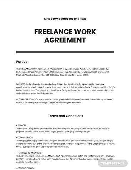 Freelance Work Agreement Template