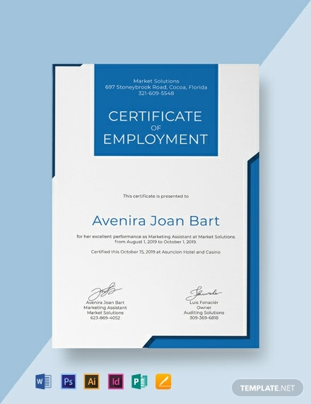 Free Certificate Of Employment Template Word Psd