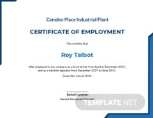 Free Certificate of Employment Template