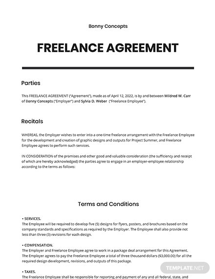 Free Simple Freelance Agreement Template