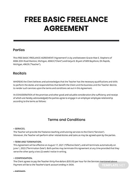 Free Basic Freelance Agreement Template