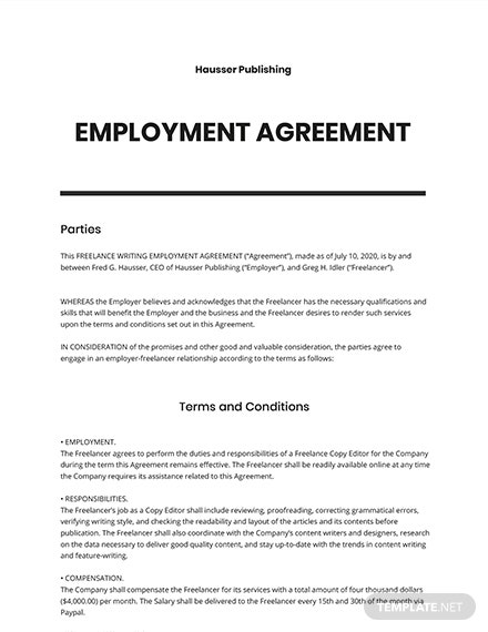 Free Simple Freelance Writing Agreement Template