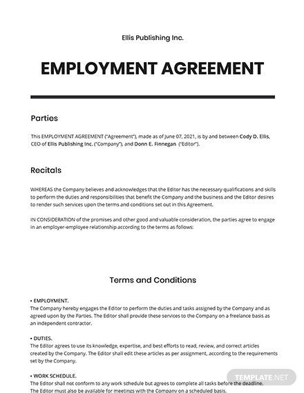 Editorial Freelance Agreement Template