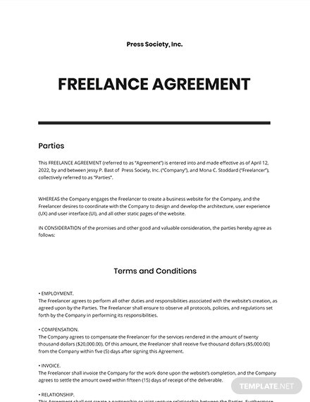 Free Sample Freelance Agreement Template
