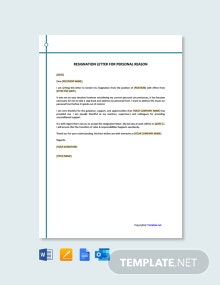 Free Resignation Letter Template for Personal Reason