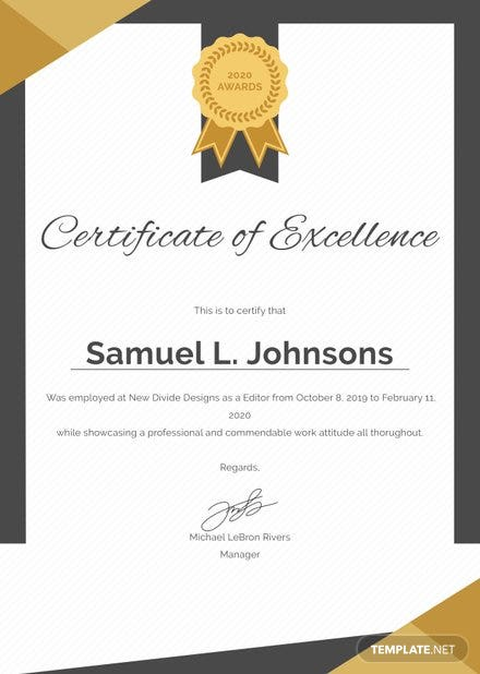 Certificate Of Excellence Template Free Templates