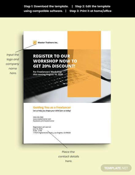 Freelance Workshop Flyer template