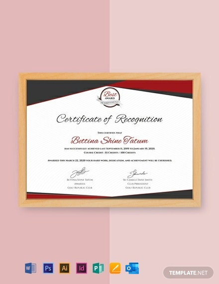 Free Certificate of Recognition Template