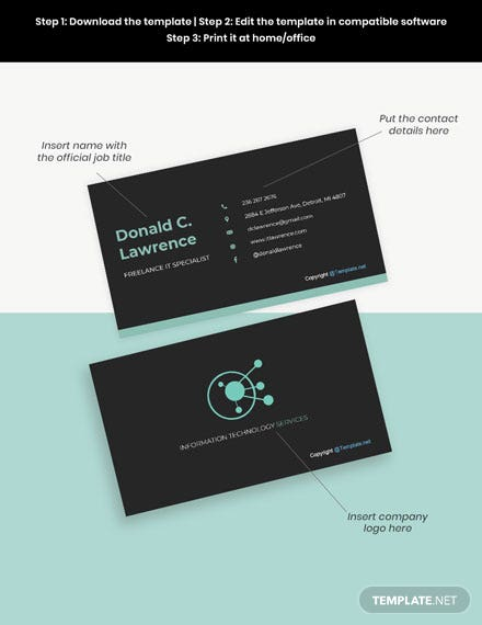 Free Simple Freelancer Business Card Word Psd Apple Mac Pages Template Net