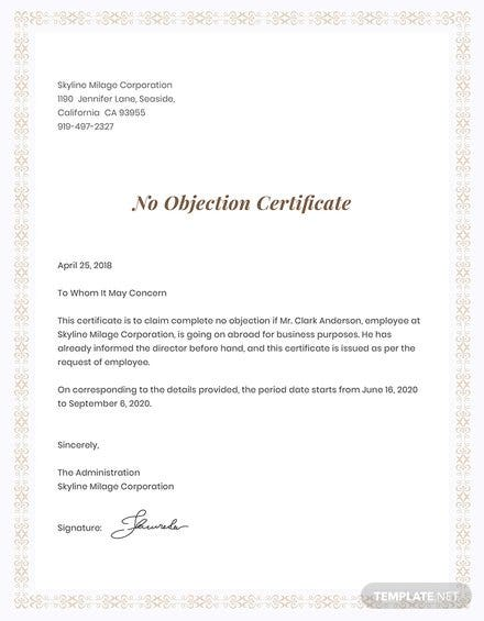 Free No Objection Certificate for Employee Template: Download 200+ ...