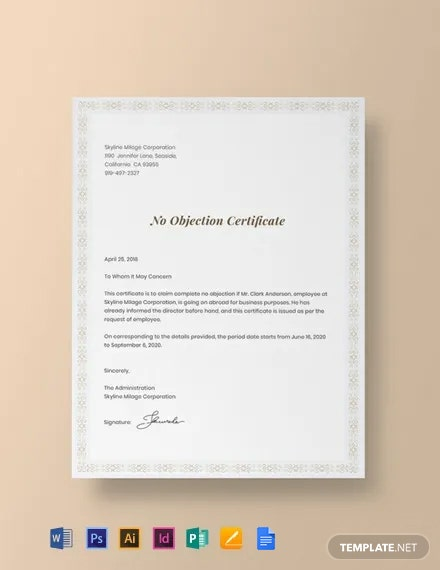 Free No Objection Certificate for Employee Template