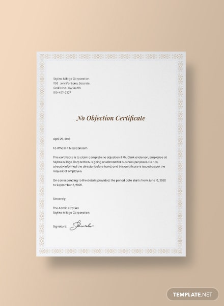 No Objection Certificate for Employee Template