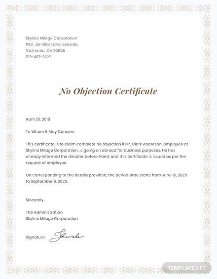 No objection certificate format free templates no objection certificate for employee template thecheapjerseys Image collections