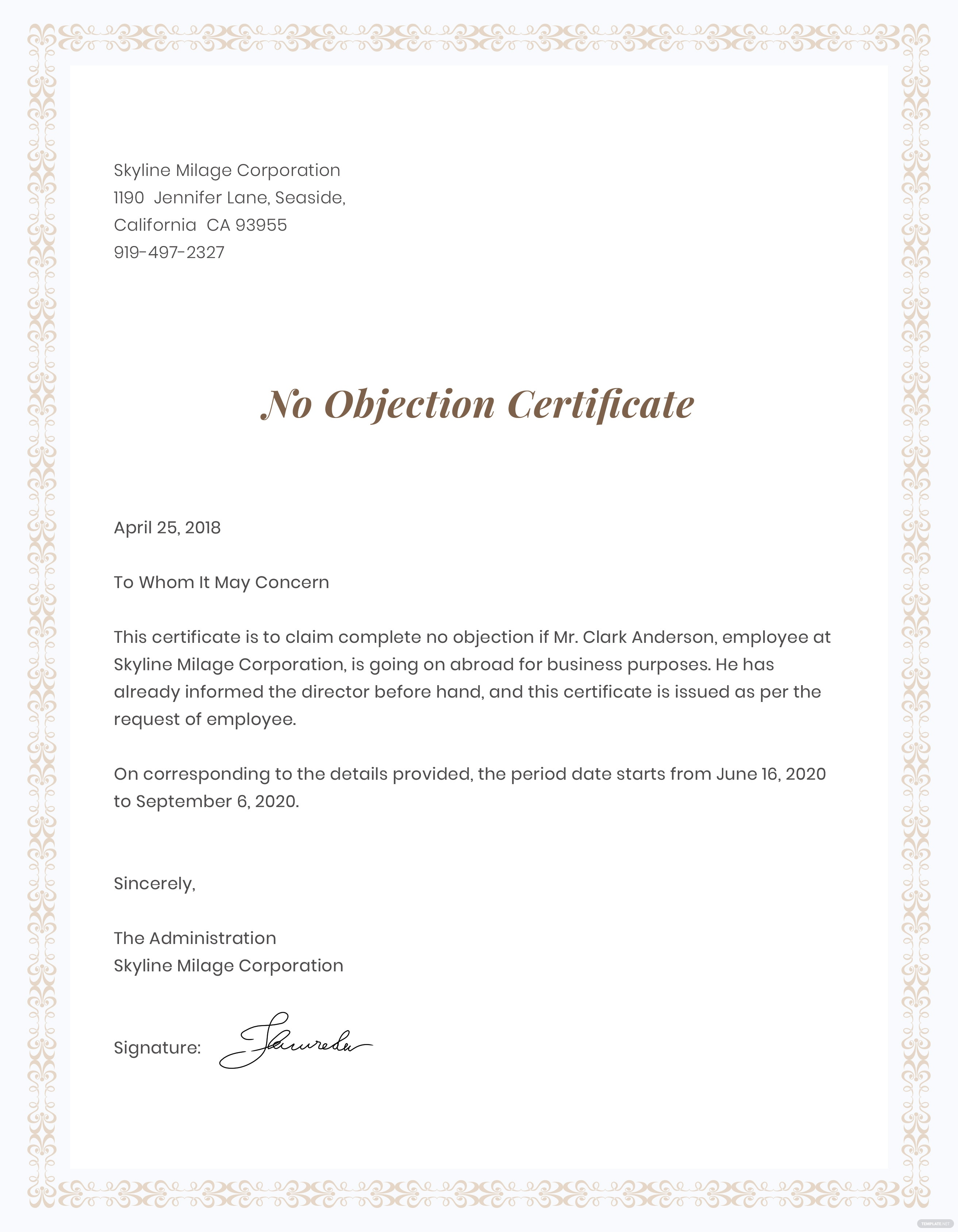 No objection certificate for employee template in adobe photoshop no objection certificate for employee thecheapjerseys Gallery