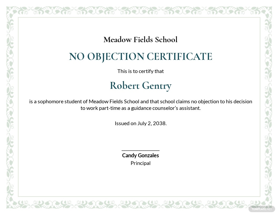 Free No Objection Certificate for Student Template.jpe