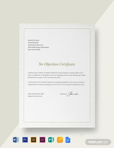 Free No Objection Certificate for Student Template
