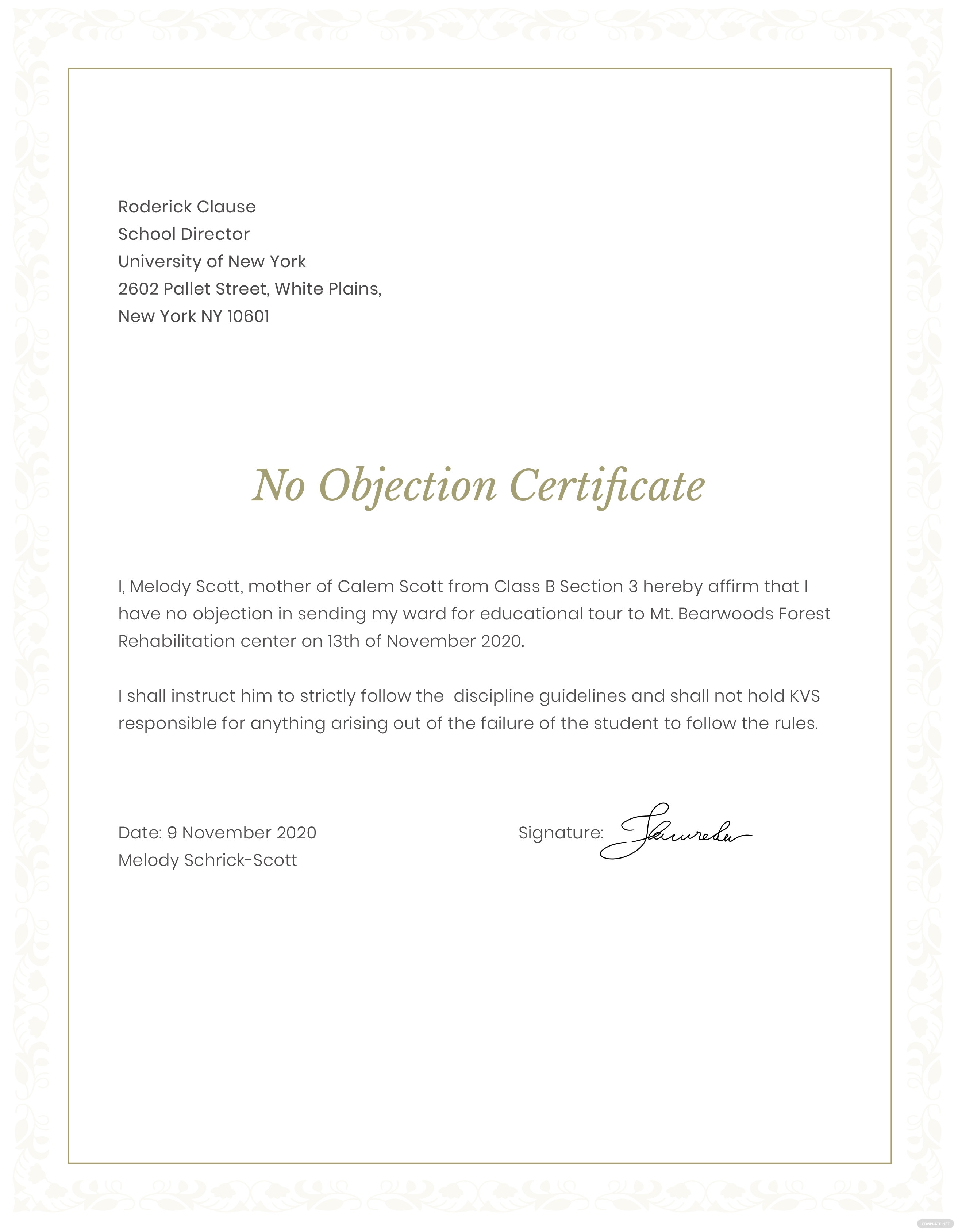 no objection certificate for student template in adobe photoshop  illustrator  indesign