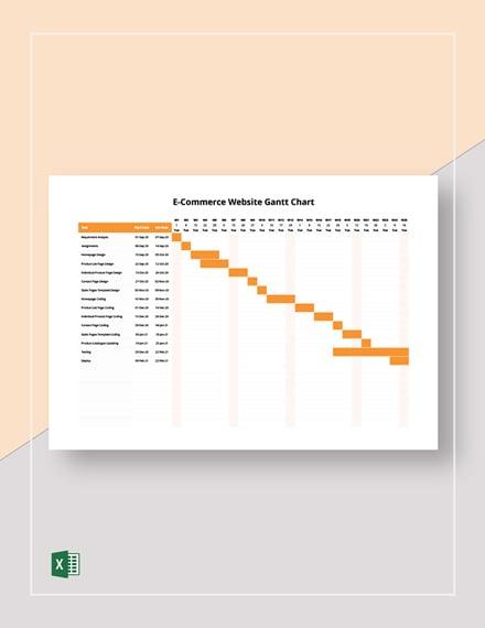 E-Commerce Website Gantt Chart Template